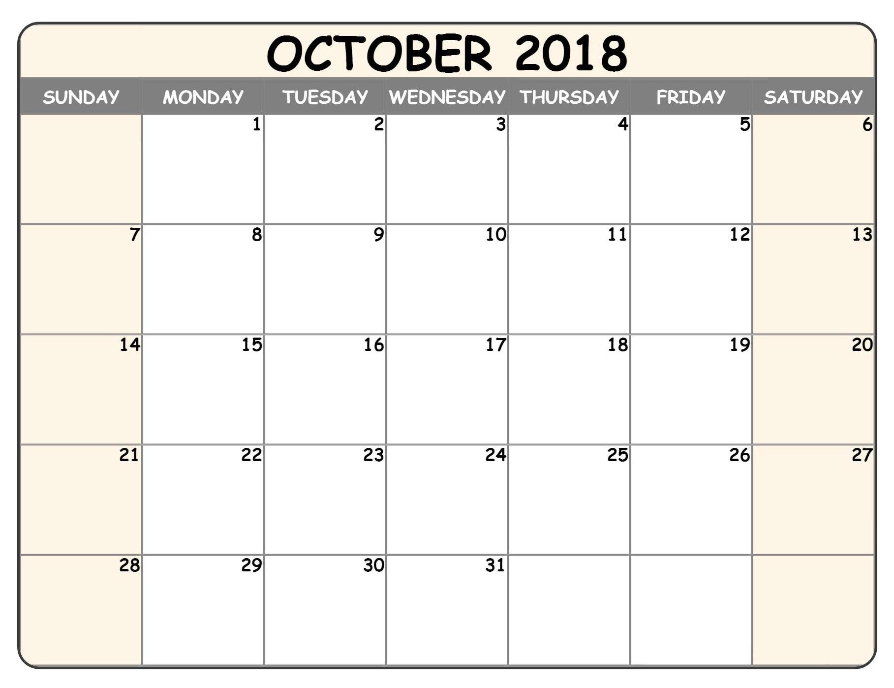 Blank Weekly Calendar October 2018 Fillable Printable