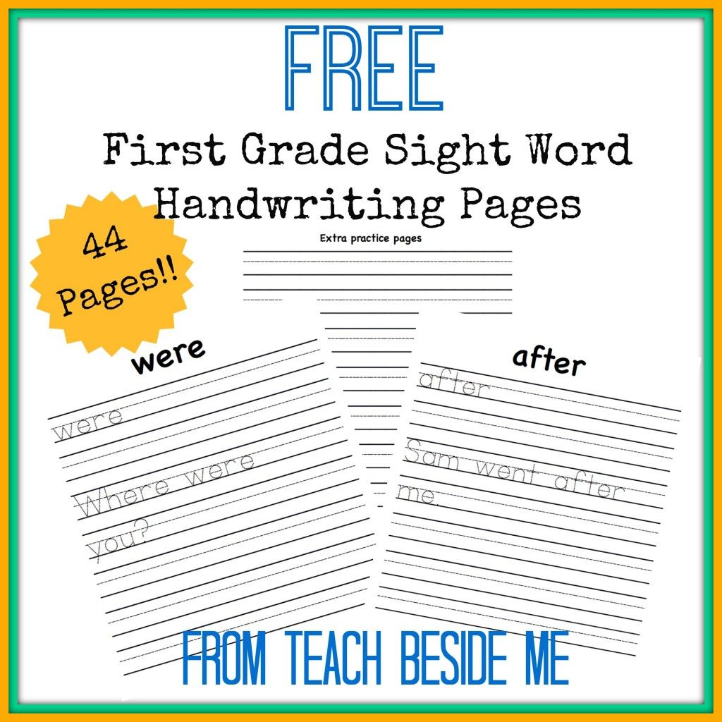 Free first grade sight word handwriting pages handwriting