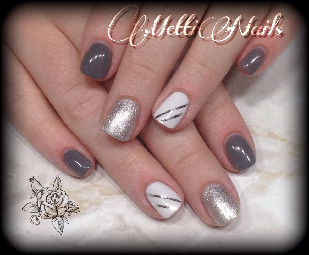 Nageldesign Weiß Nageldesign Grau Silber Weiß Mit Stripes My Nails In 2019 Nail