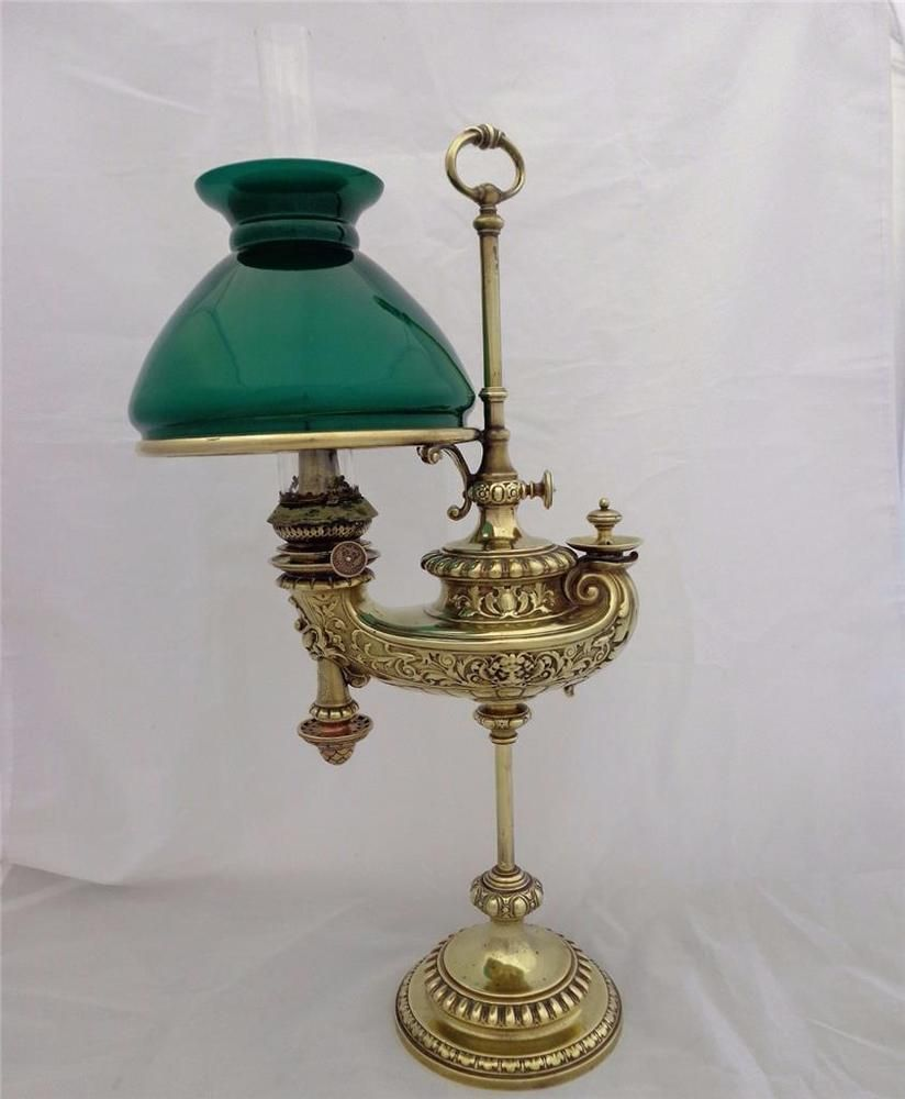 Regent antiques lights antique victorian oil lamp c 1860 - Antique Victorian Cast Brass Wild Wessel Harvard Student Oil Lamp Kosmos 1880