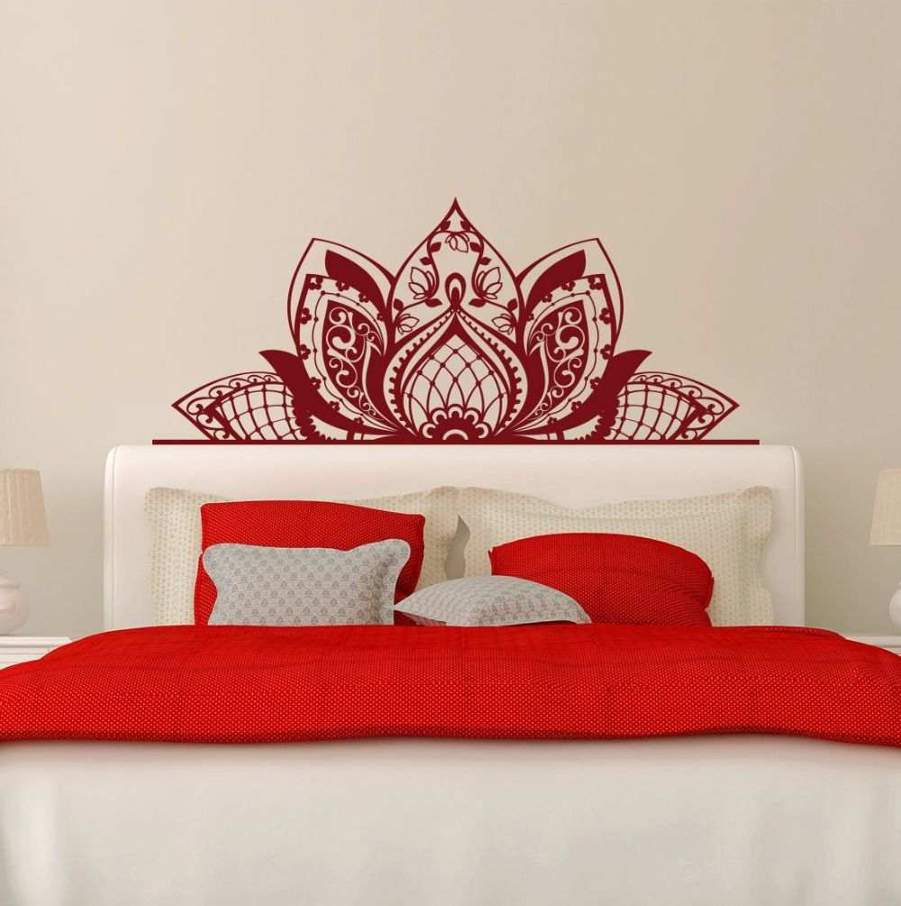 Master bedroom wall decor stickers  Wall Decal Mandala Decorate The Beds Wall Vinyl Sticker Lotus Boho