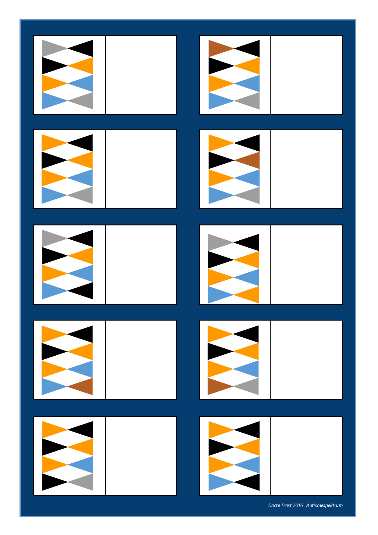 Board For The Matching Game Find The Belonging Tiles On