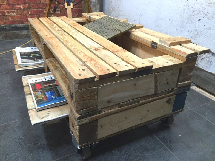 A collection of hand crafted pallet coffee tables, ottomans, benches ...