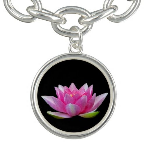 Waterlily lotus flower charm bracelet pinterest lotus flower this artistic floral charm features an exquisite pink water lily lotus flower on a pure black background mightylinksfo