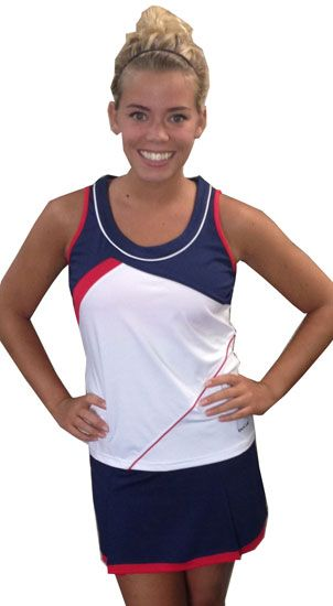 SPECIAL Bolle Ladies Tennis Outfits (Top & Skort) – Tie Breaker (Navy, White and Red)