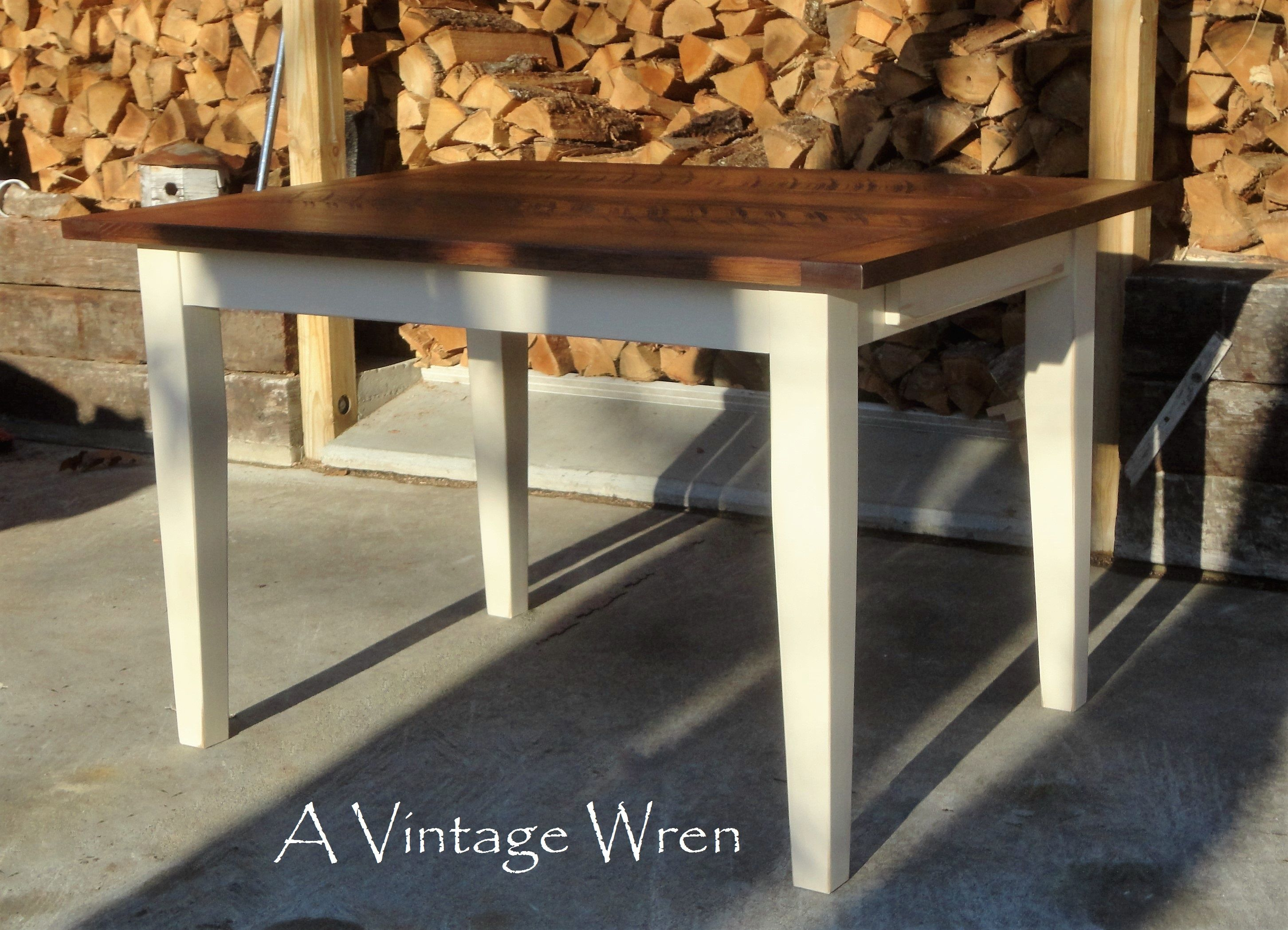 Custom Built Farm Table, Made In New Hampshire. Eastern White Pine Top In  Circular Sawn Finish Stained In Walnut. Custom Made Tapered (Shaker Style)  Legs, ...