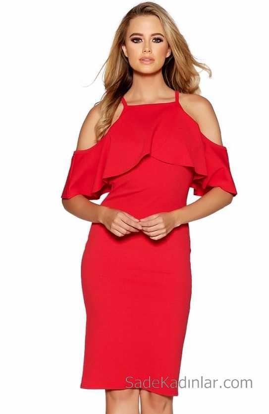 99ca0c08773f5 Kırmızı Elbise Omzu Açık Diz Altı Krep Elbise | Abiye Elbise ...