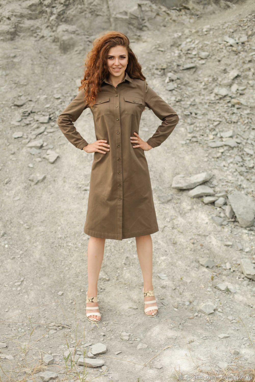 1fb3130c620f5 Платье-рубашка цвета хаки, с длинным рукавом и накладными карманами – купить  в интернет