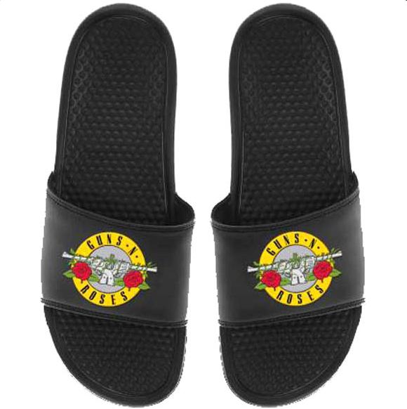 Guns N Roses Bullet Logo Black Flip Flop Sandals New Official Band Merch