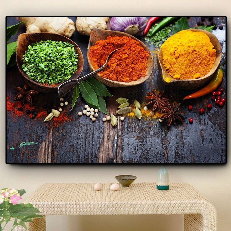 COLOURFUL SPICES KITCHEN CANVAS WALL ART PRINT POSTER PICTURE READY TO HANG