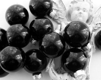 12 Lacquer Midnight Black Glass Ball Christmas Halloween Feather