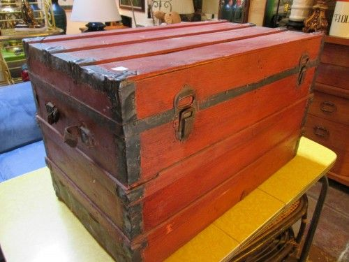 Superb Handcrafted Red Trunk Coffee Table