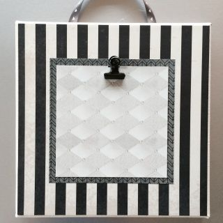 Colored Stretched Canvas  8X8 black/ivory/stripes