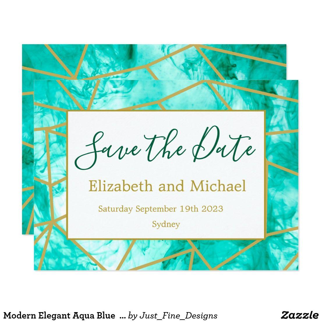 Modern Elegant Aqua Blue Gold Save the Date