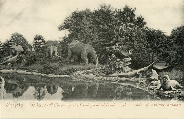 Reproduction Of Postcard Early Dinosaur Sculptures At Crystal Palace Park In Sydenham The Full