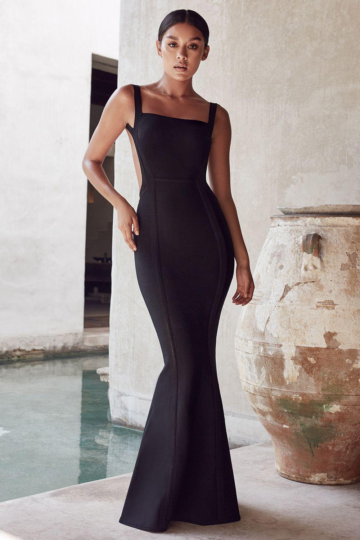 256558a383f72 Clothing   Max Dresses    Ophelia  Black Backless Maxi Bandage Dress ...