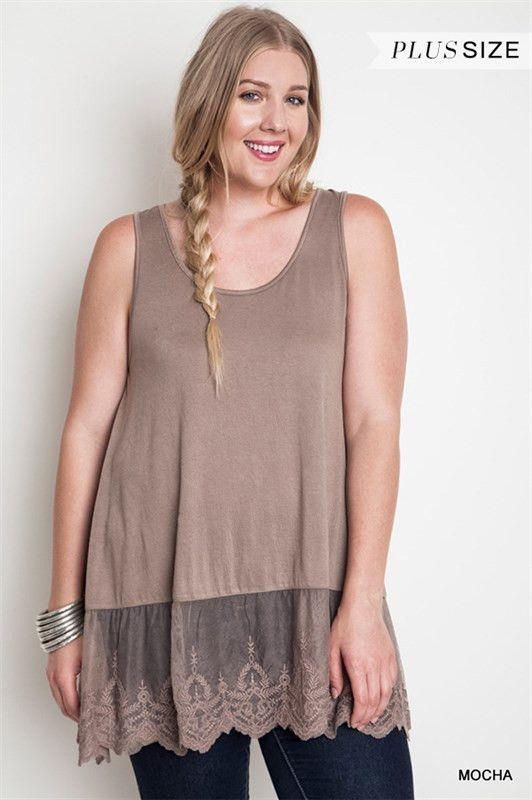 Umgee Plus Size Sleeveless Lace Tank Shirt Extender Put