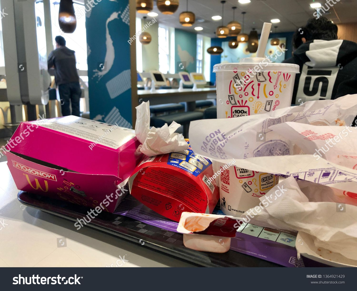 Wembley London April 4 2019 Paper And Plastic Fast Food And Drink Wrappers And Packaging Inside Mcdonald S Restaurant Wedding Thank You Cards West London