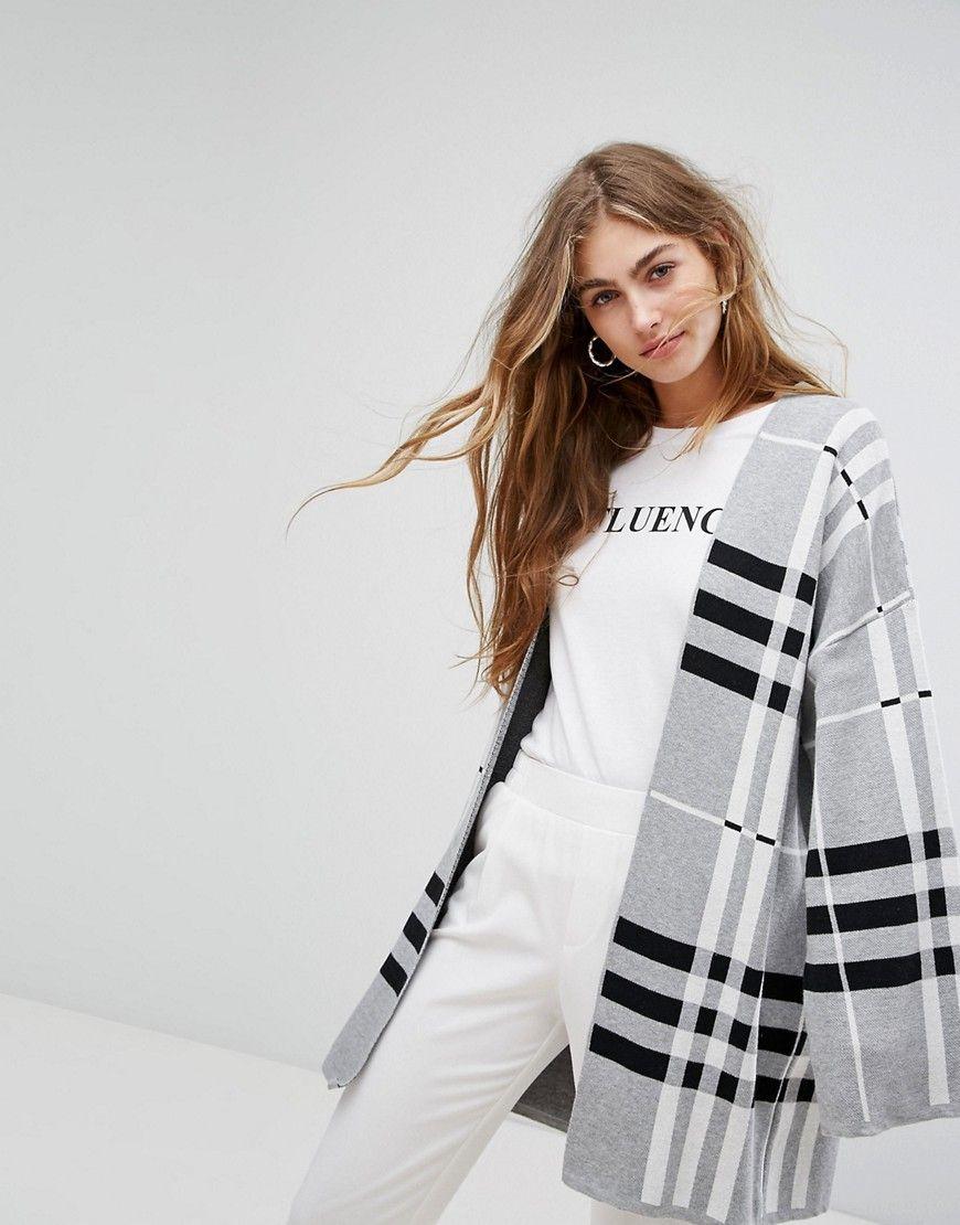 4bb7eaffd8b0 Bershka Check Midi Cardigan - Multi Knit Cardigan, Sweater, Karierter  Mantel, Fashion Online