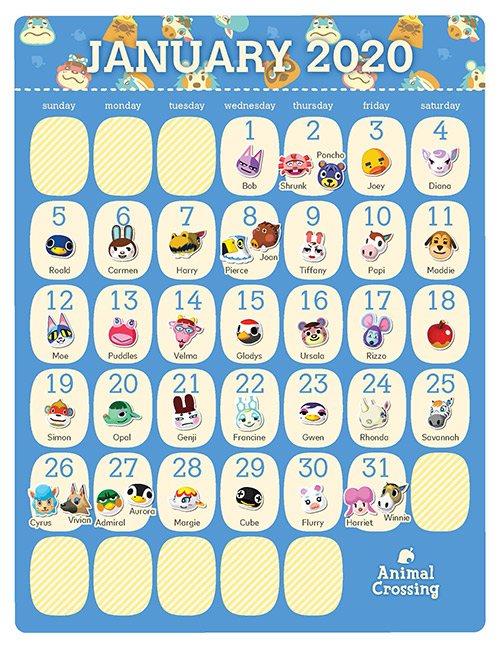 Printable Animal Crossing 2020 Birthday Calendar In 2020