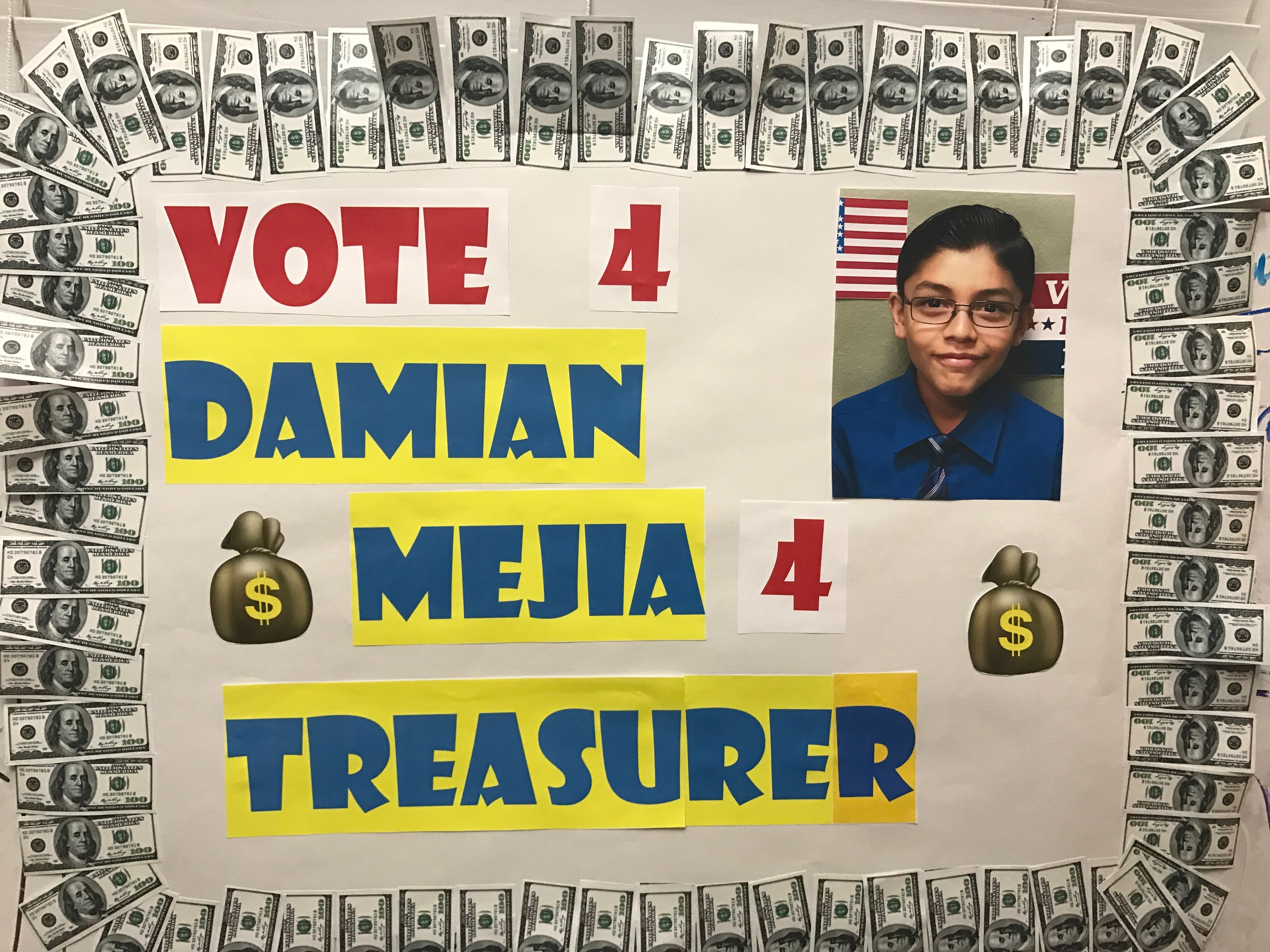 Student Council Election Poster 4thgrade Treasurer Student Council Campaign Student Council School Projects