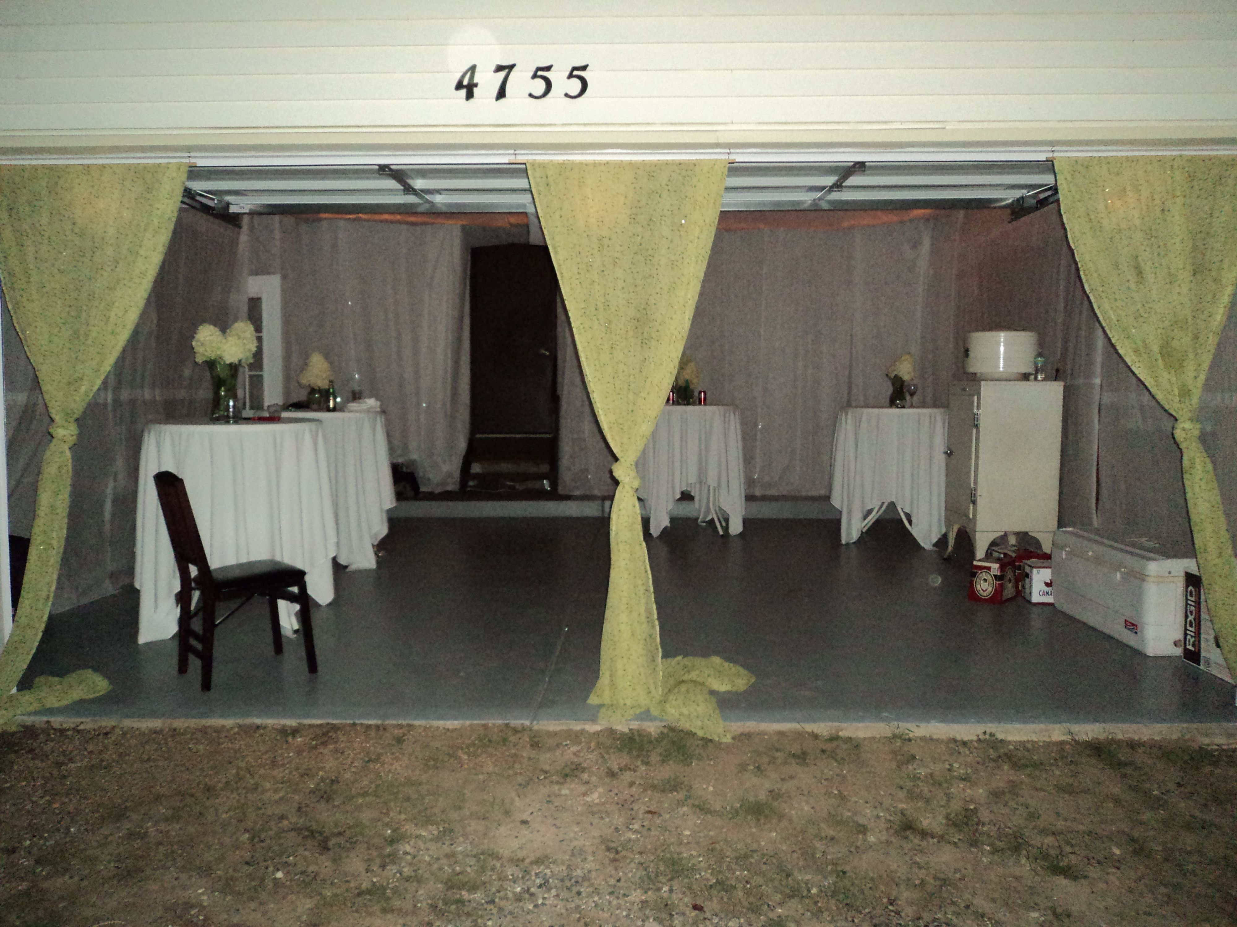 Turned Our Garage Into A Dance Floor For Backyard Wedding Reception Lined Ceiling And Walls With Lacy Disposable Table Cloths