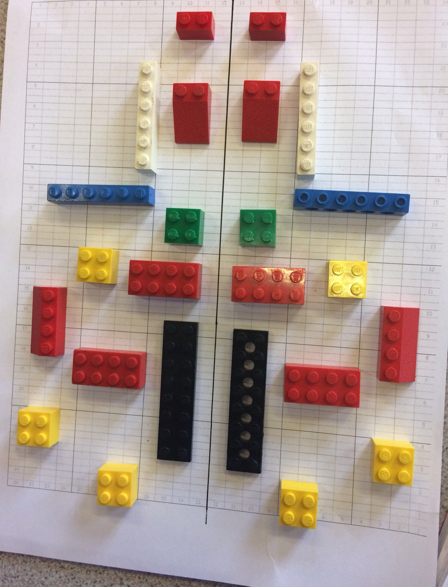 Grid Symmetry Using Lego And Lego Graph Paper
