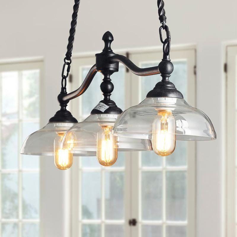 Estin Industrial 3 Light Bronze Chandelier With Glass Shades