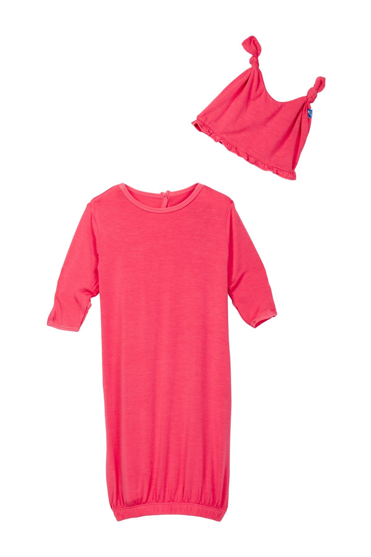 KicKee Pants Solid Layette Gown & Ruffle Knot Hat Set (Baby Girls ...