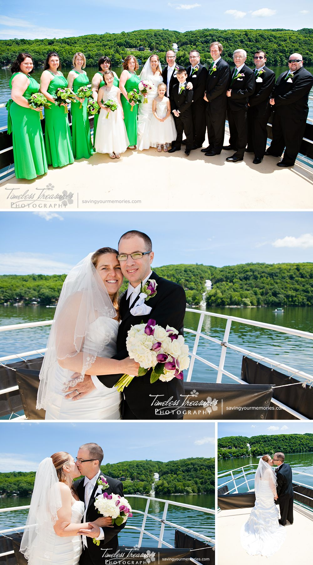 Bridal Party Portraits with the Waterfall. On the Seneca Legacy in Watkins Glen New York | All Images Copyright © 2014 Timeless Treasures Photography | www.savingyourmemories.com