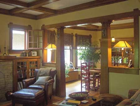 Craftsman style-love the divider between the dining room and living room. #craftsmanstylehomes