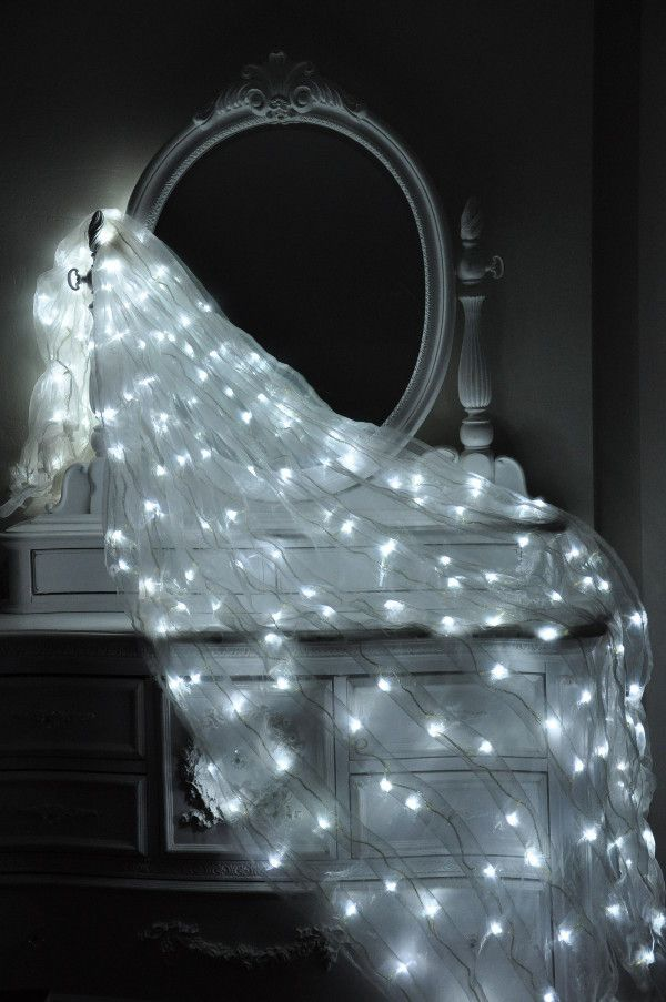 8 White Organza Curtain With Cool White Lights Home