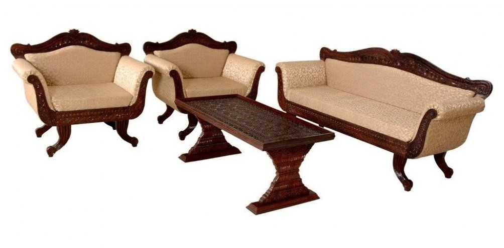 Royal Set Fine Carved Maharaja Rajasthani Sofa Set Teak Wood