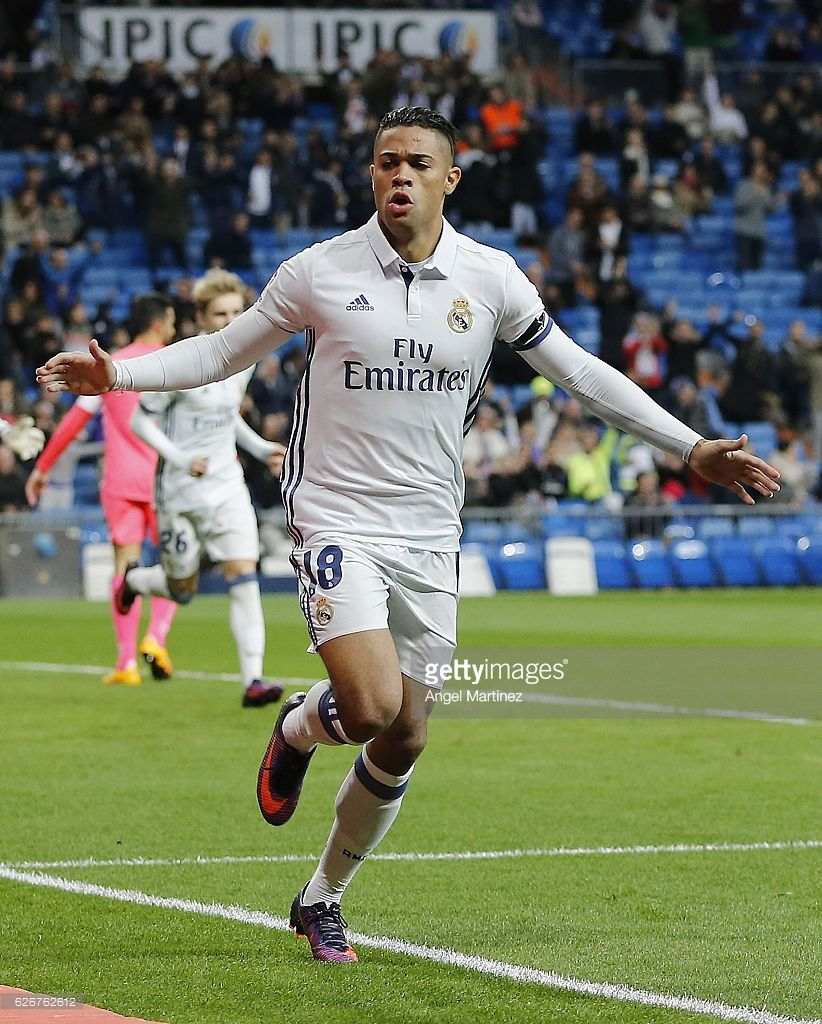 Mariano Diaz Of Real Madrid Celebrates After Scoring The Opening Goal During The Copa Del Rey Round Of 32 Second L Real Madrid Estadio Santiago Bernabéu Madrid