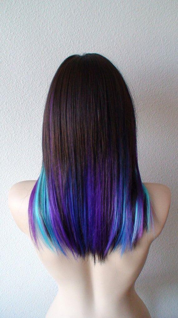 galaxy ombre wig. black pink purple