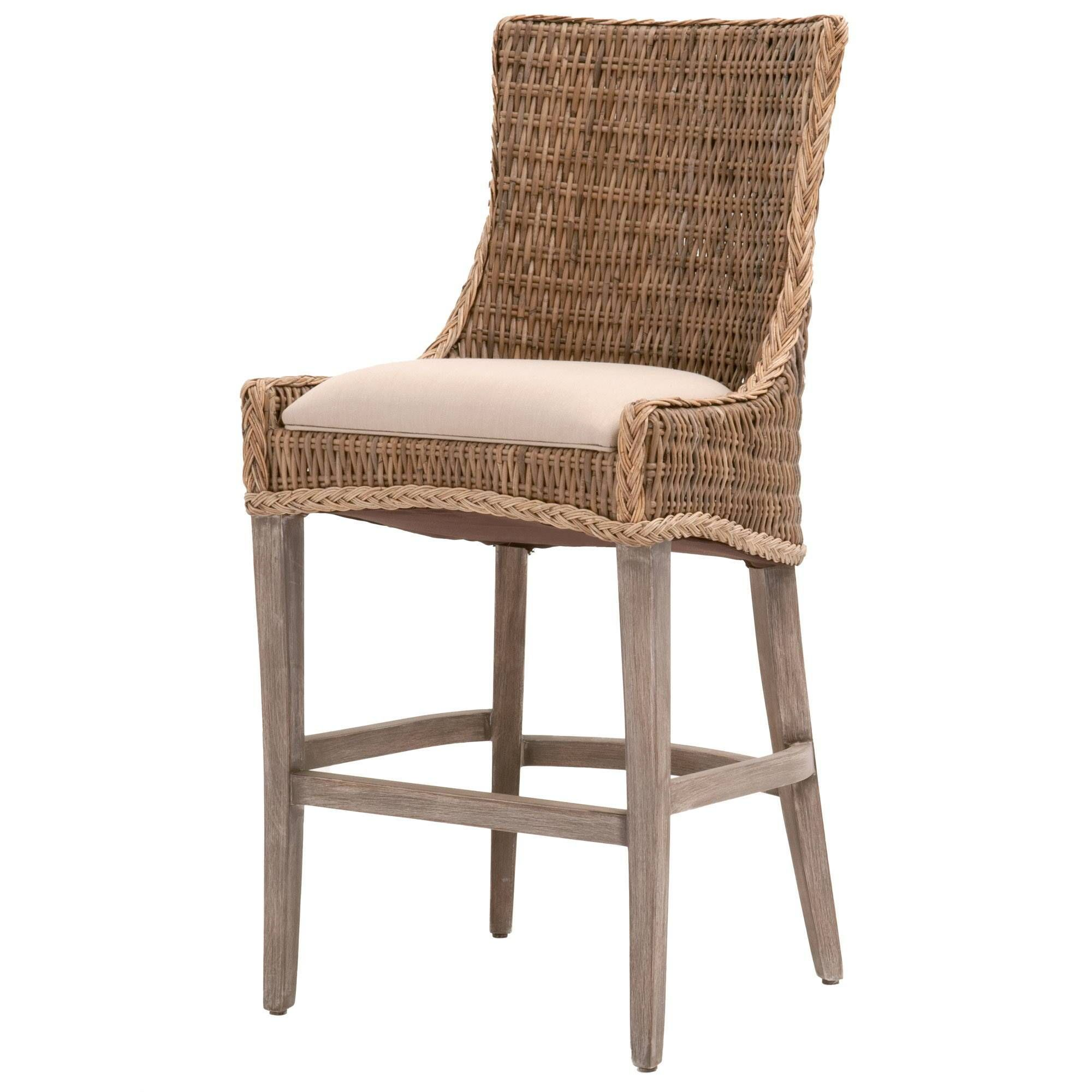 Greco Counter Or Bar Stool Set Of 2 In 2021 Wicker Bar Stools Rattan Bar Stools Transitional Style Bar Stools