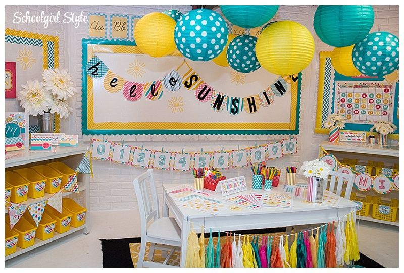 Yellow Classroom Decor ~ Beautiful classroom decoration in blues and yellow