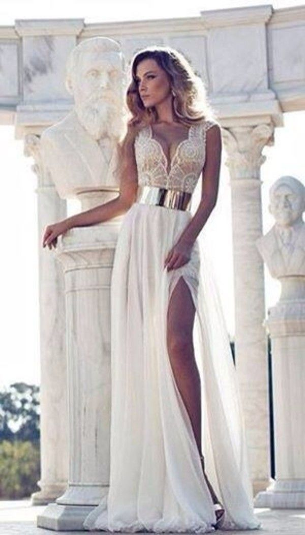 Gold And White Prom Dresses 2015