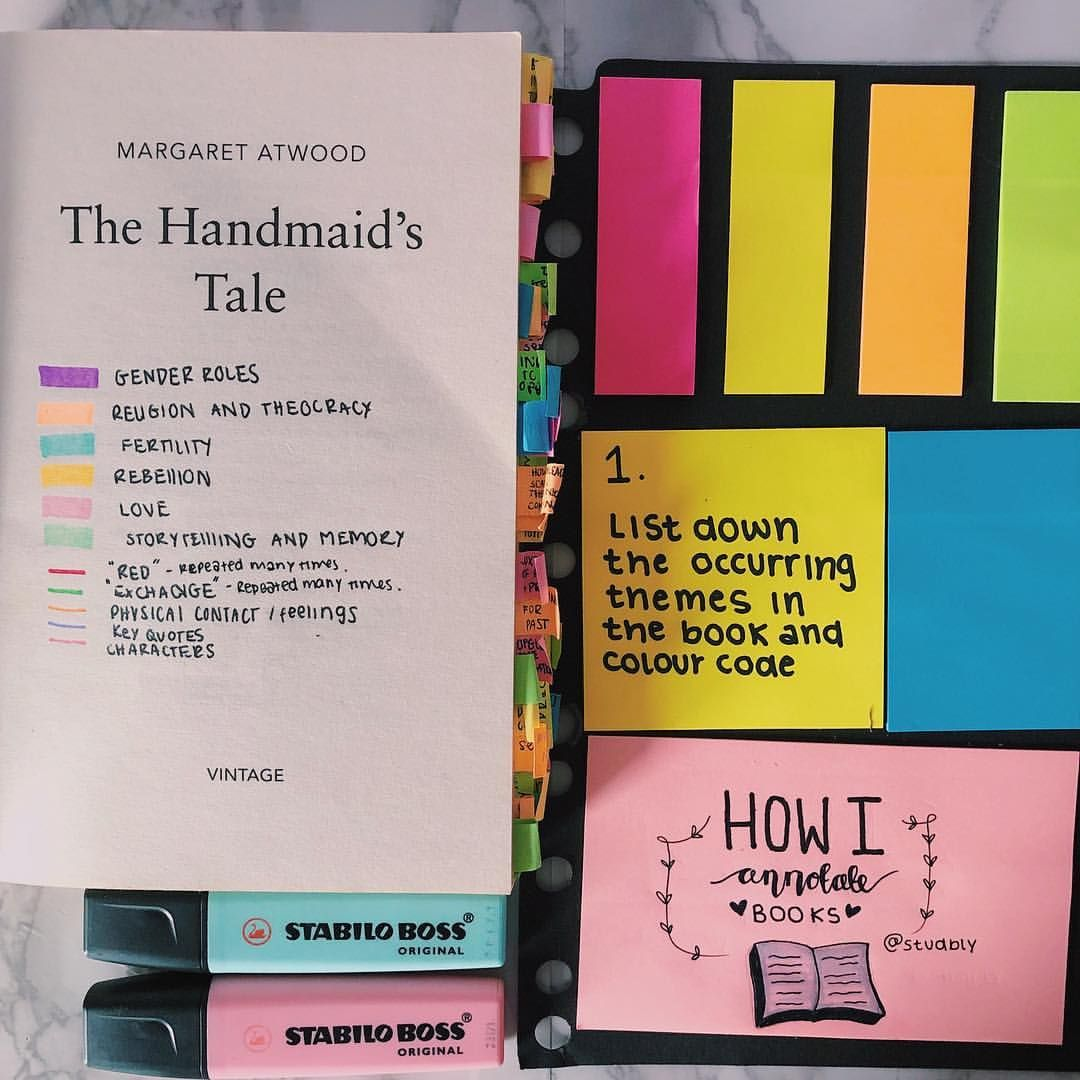 Swipe How I Annotate Books In 4 Steps 1 List Down All Occurring Themes In The Book And Colour Code 2 While Book Study Book Annotation School Study Tips