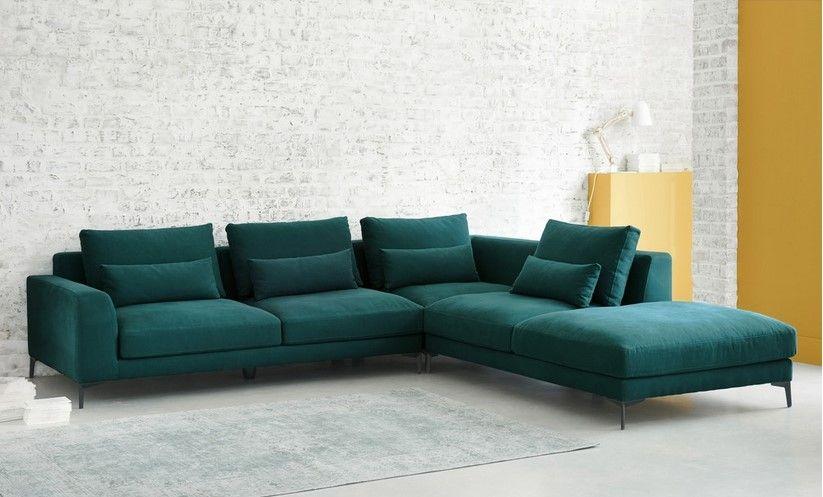 Canapé d\'angle droit 6 places Portland en coton et lin bleu canard ...