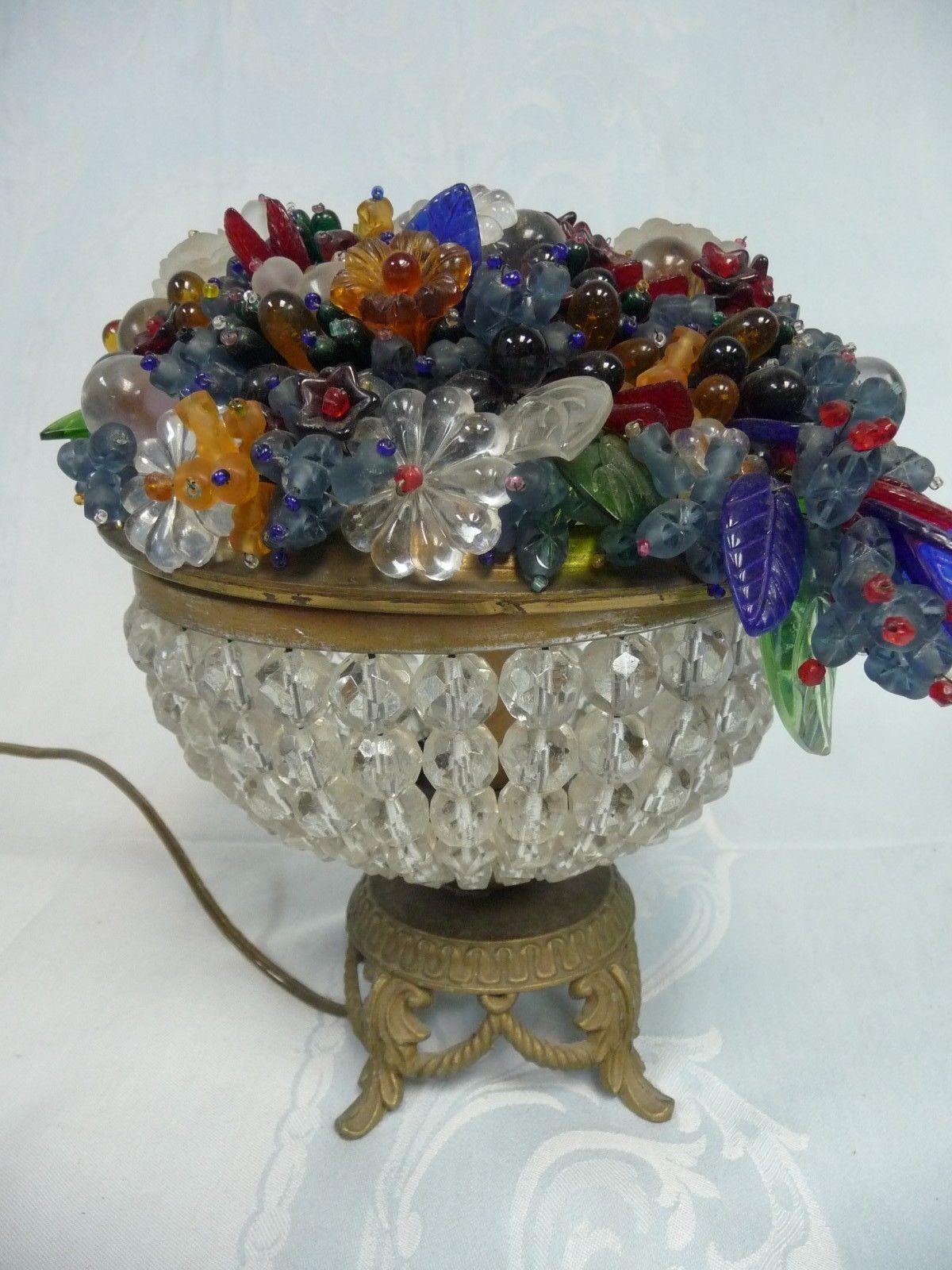 Beautiful Antique Czech Glass Fruit Flower Bead Basket Lamp