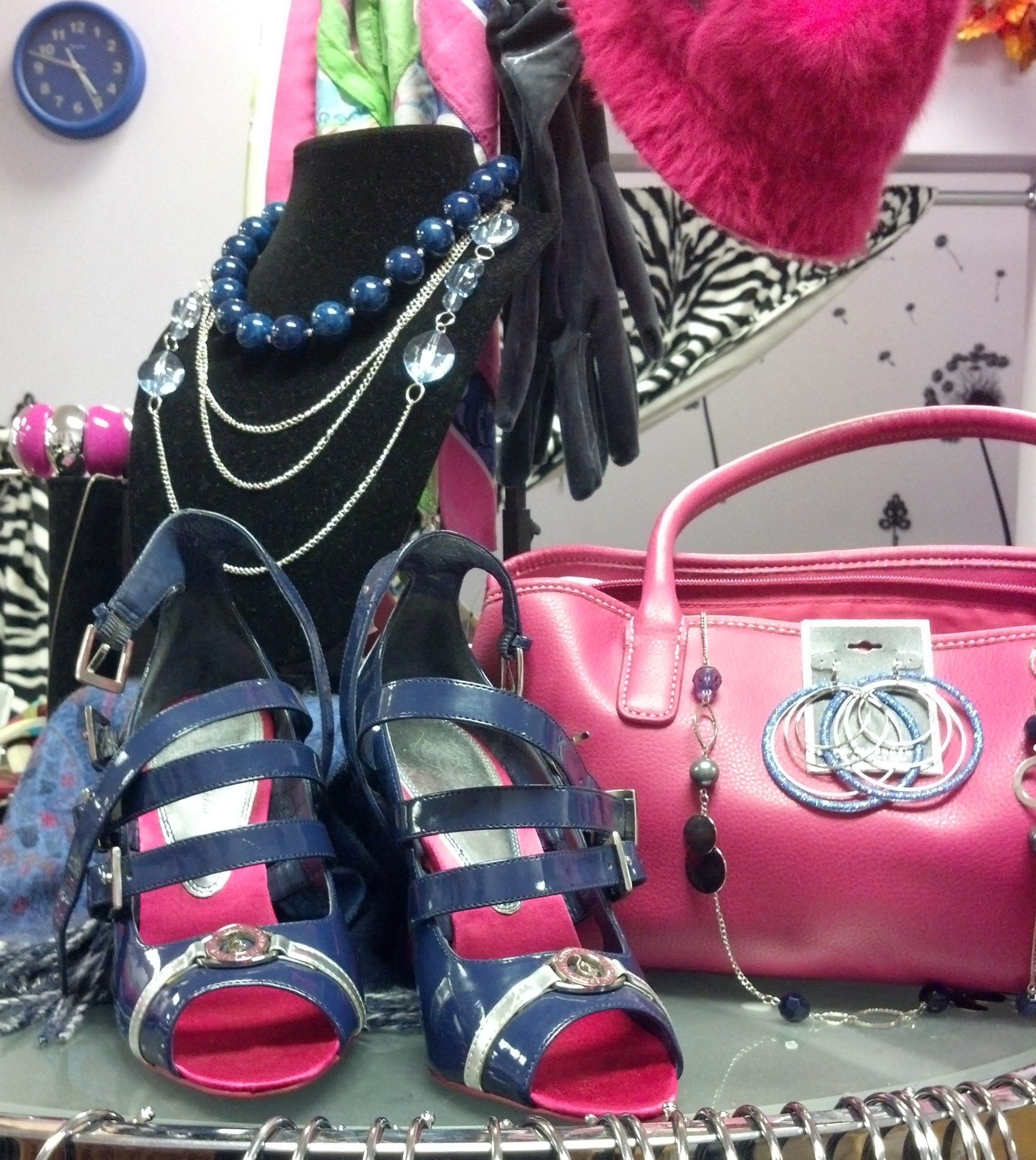 Navy and hot pink heels and accessories