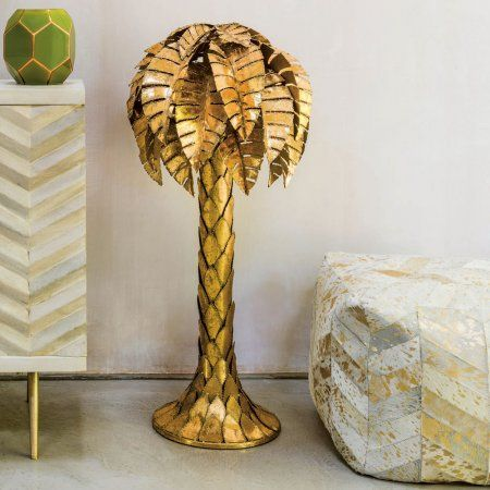 Gold tropicana palm tree floor lamp