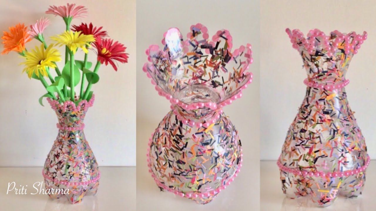 Best Out Of Waste Plastic Bottle Flower Vase Diy Plastic