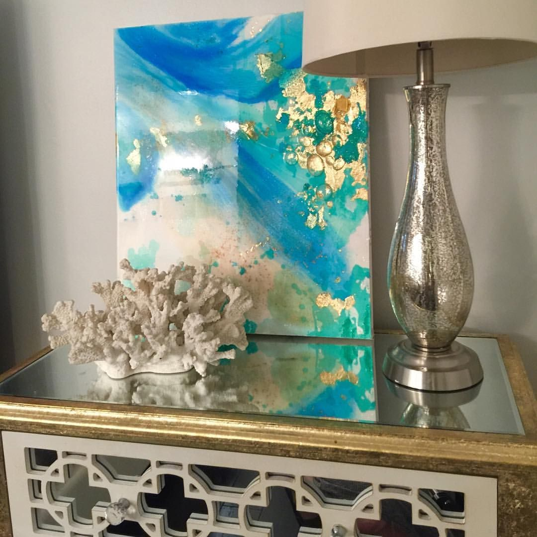 "60 Likes, 6 Comments - Frances Katz (@blueberryglitter) on Instagram: ""This one is available! Gold leaf and Aqua #etsy #beach #interiordesign #gold #glam #ikat #resinart…"""