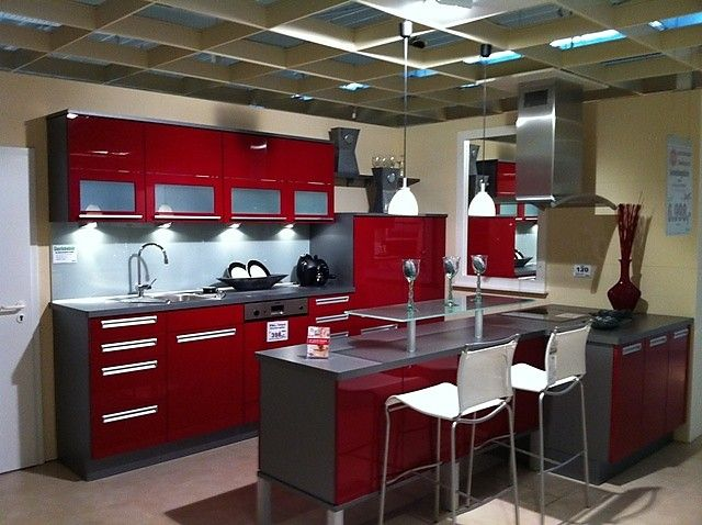 Küche Schwarz Rot