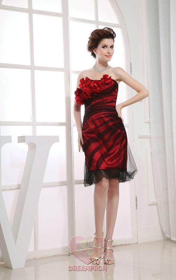 Custom Handmade Black and Red Flower Pleated Short Prom/Evening ...