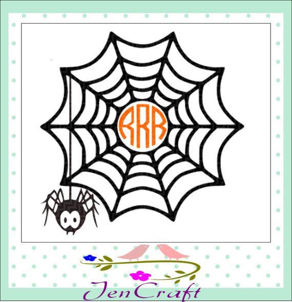Spider Web Monogram Frame Halloween Monogram by JenCraftDesigns