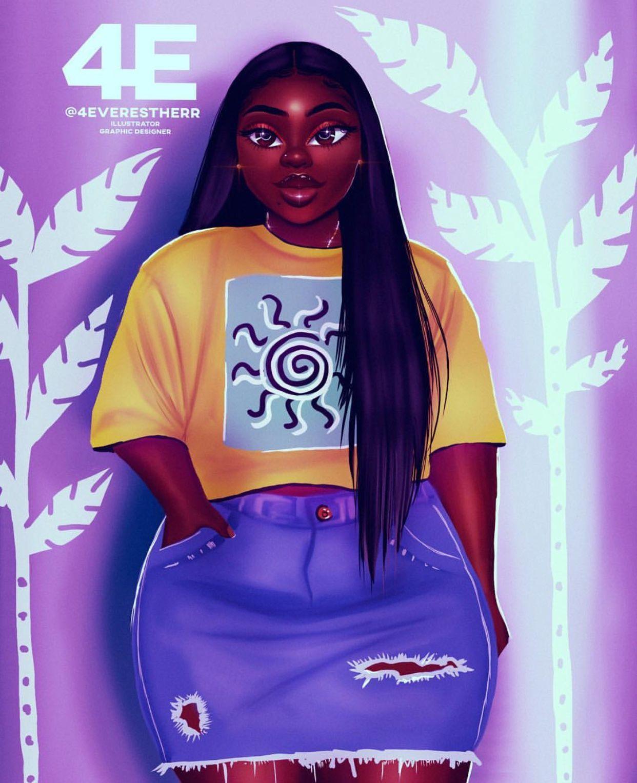 Plus Size Black Art Black Girl Cartoon Drawings Of Black Girls Black Girl Art