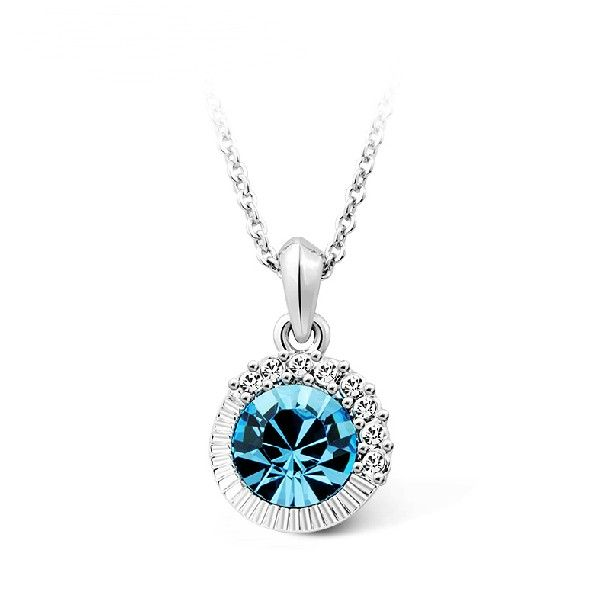 Stunning Sea Blue Crystal Necklace For Women - USD $69.95